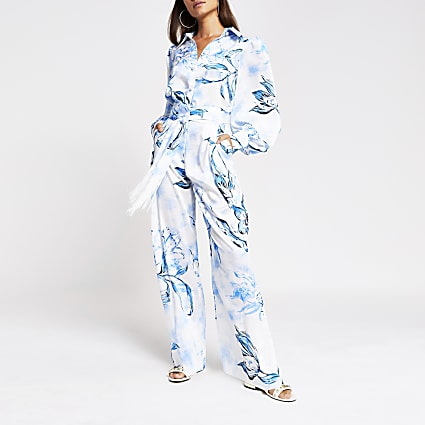 Blue floral belted wide leg satin trousers