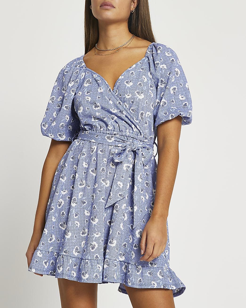 Blue floral belted wrap mini dress