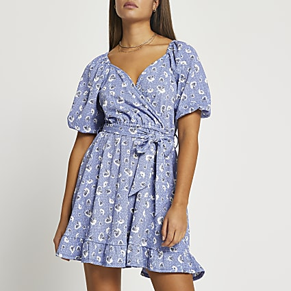 Blue floral belted wrap mini dress