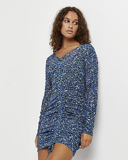 Blue floral bodycon mini dress