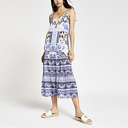 Blue floral cami midi beach dress