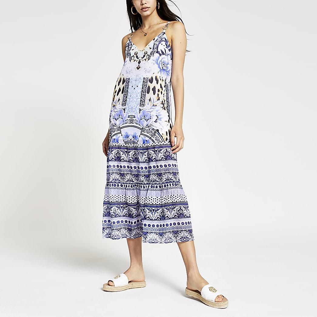 Blue floral cami midi beach dress