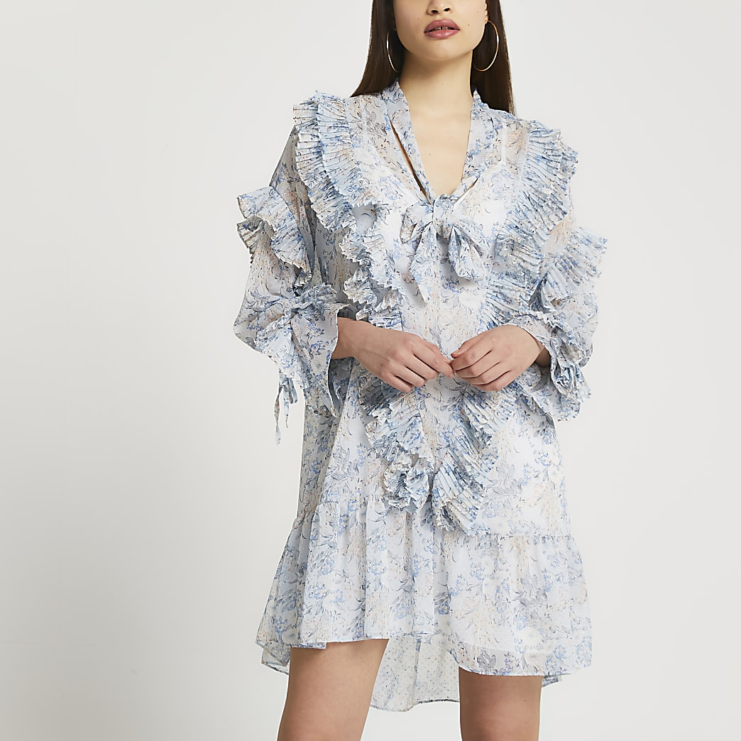 Blue floral chiffon frill detail mini dress