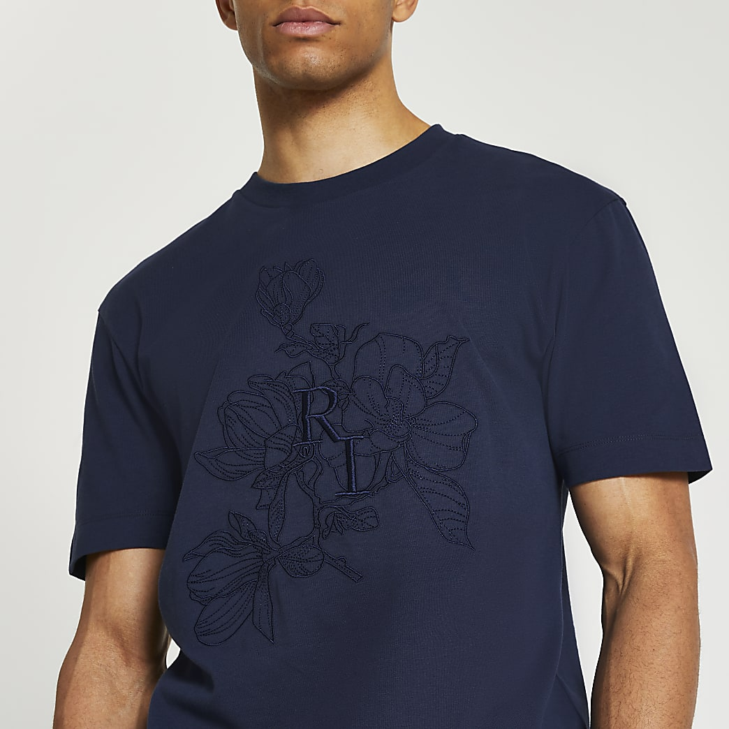 Blue floral embroidered t-shirt