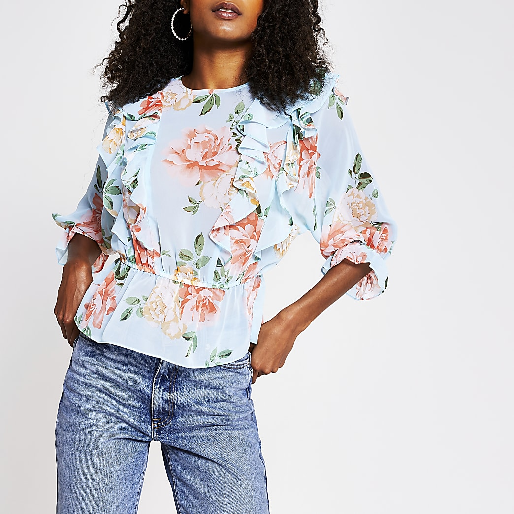 Blue floral frill blouse