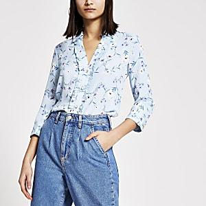 Blauw overhemd met bloemenprint, ruches en lange mouwen