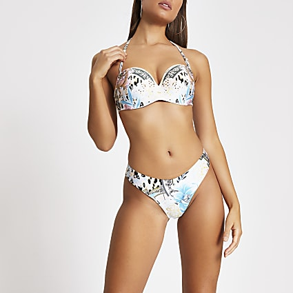 Blue floral high leg bikini bottoms