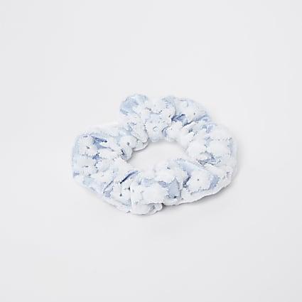 Blue floral lace scrunchie