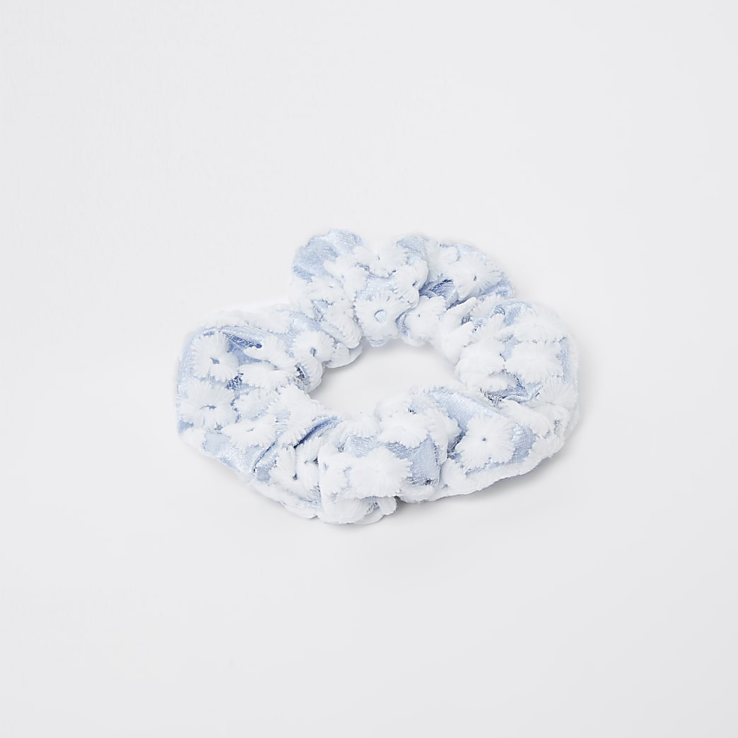Blue floral lace scrunchie