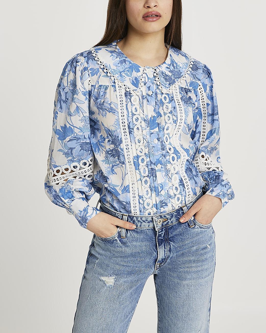 Blue floral lace trim blouse top