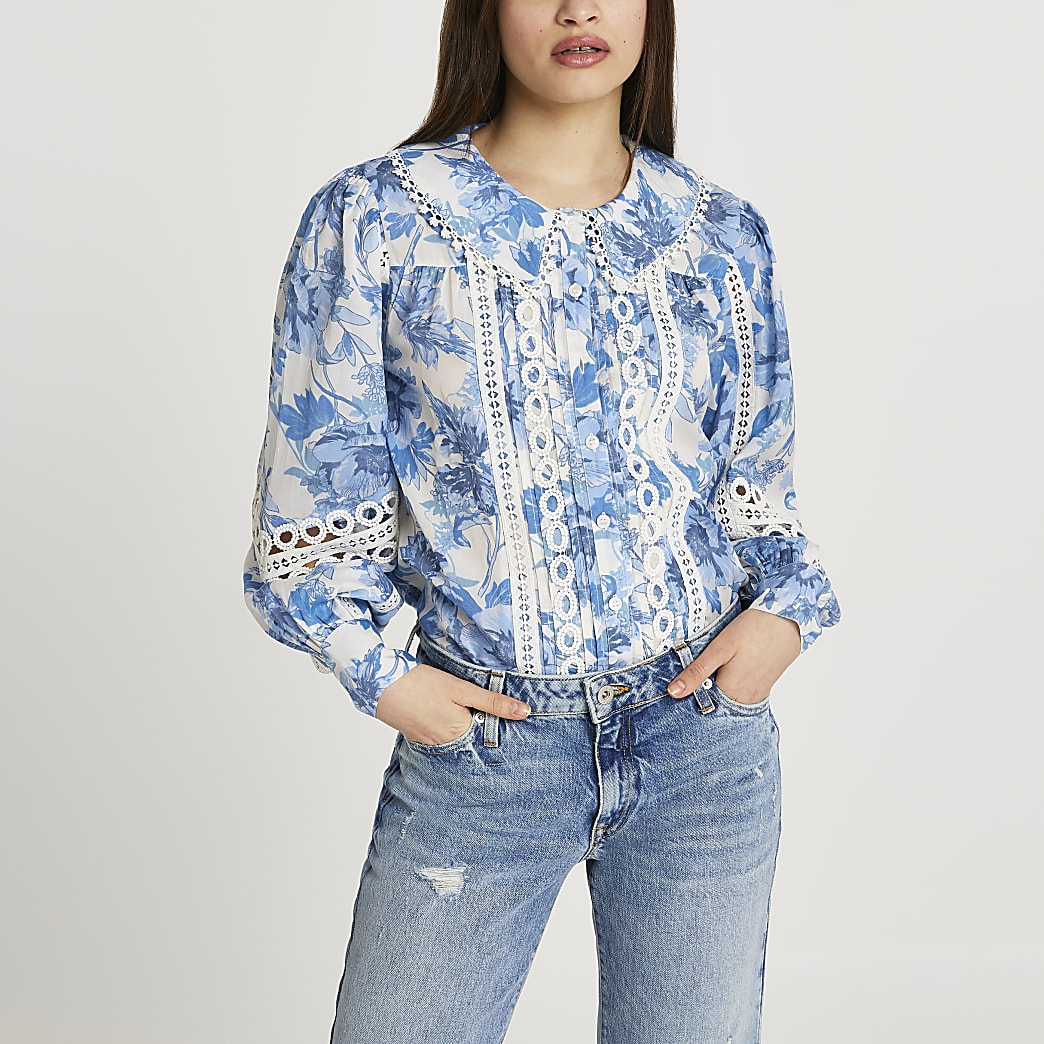 Blue floral lace trim blouse top