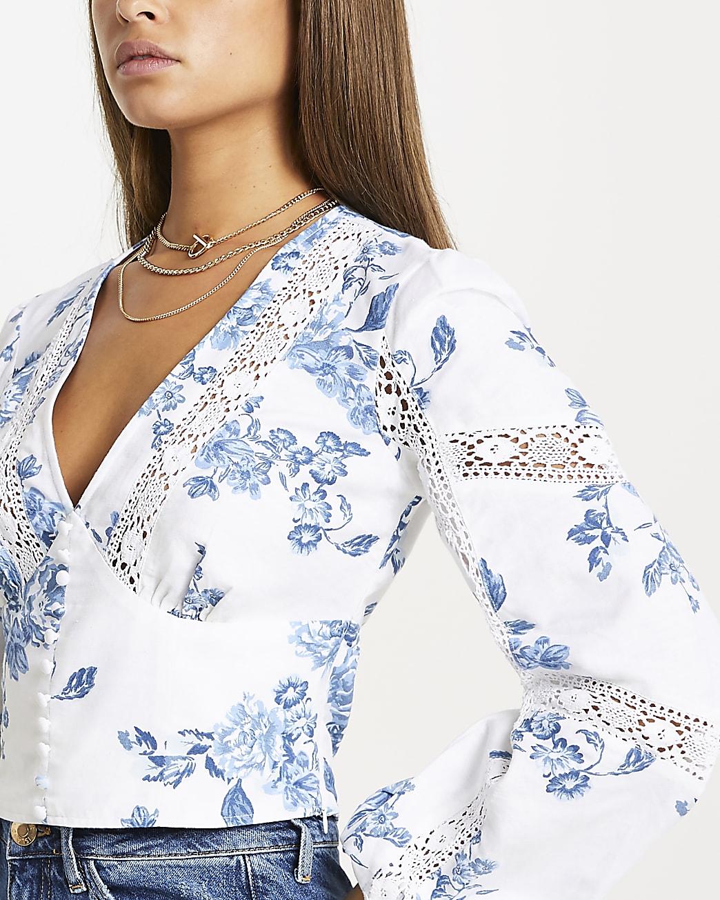 Blue floral lace trim corset top