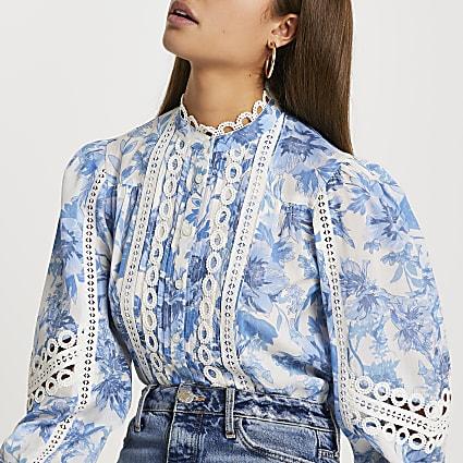 Blue floral lace trim long sleeve blouse