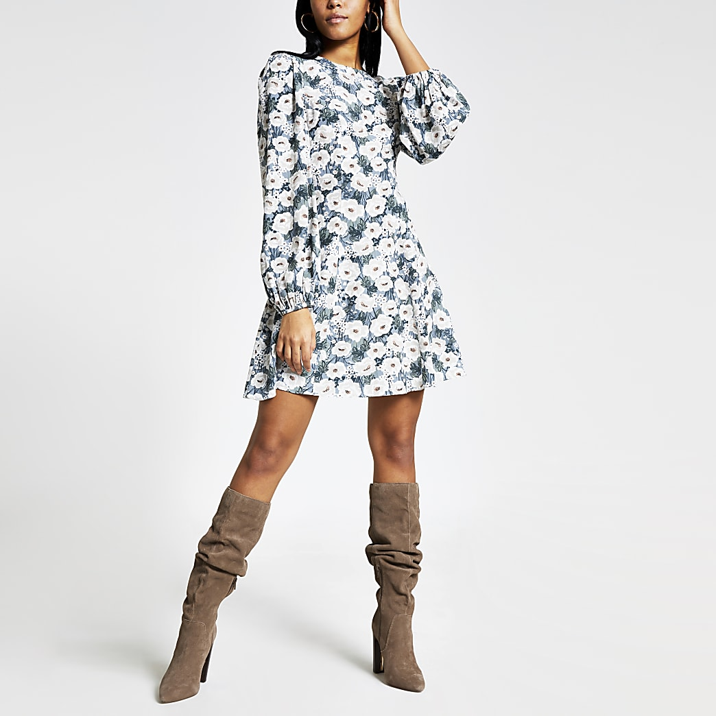 Blue floral long sleeve mini swing dress