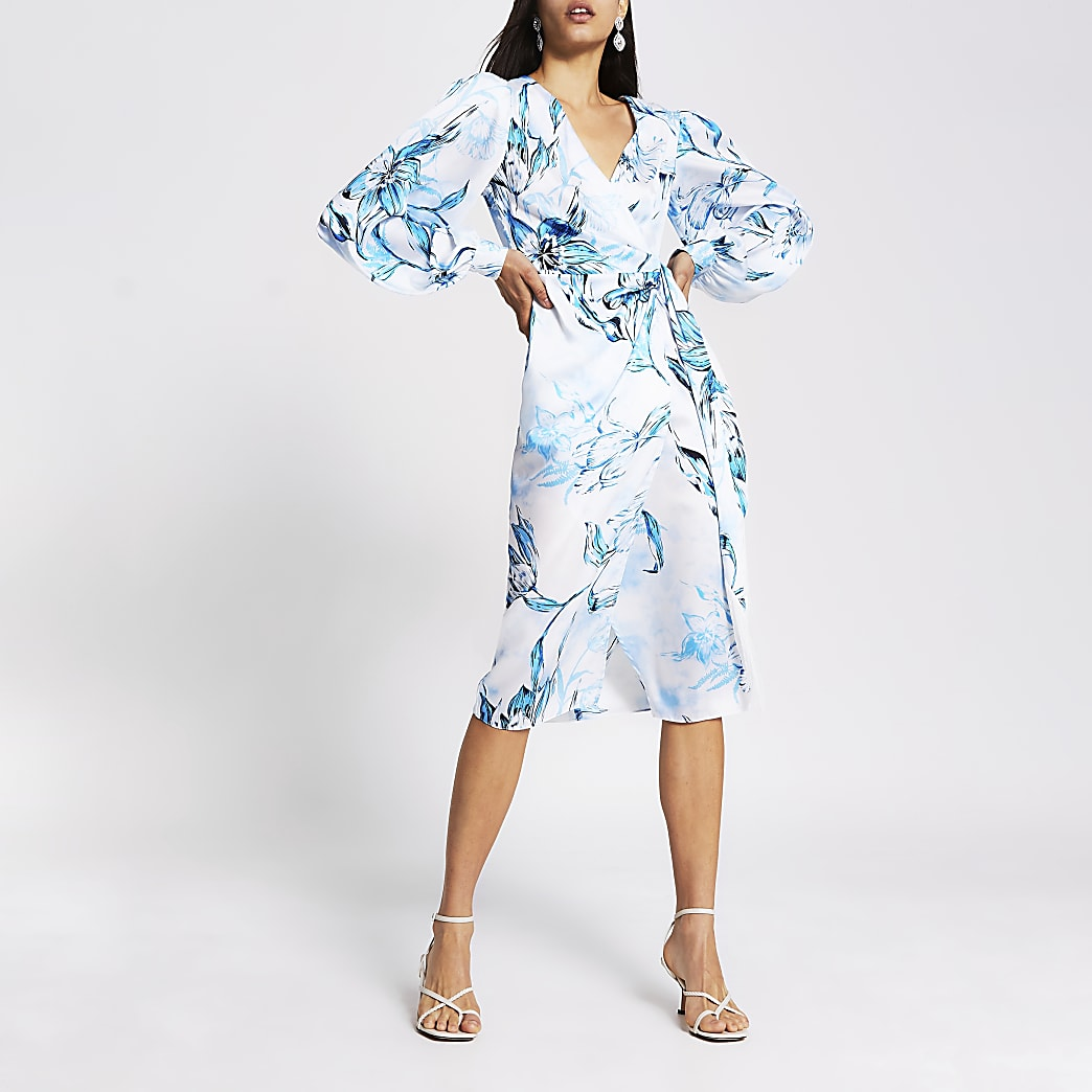 Blue floral long sleeve wrap midi dress