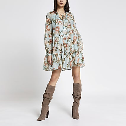 Blue floral metallic mini smock dress