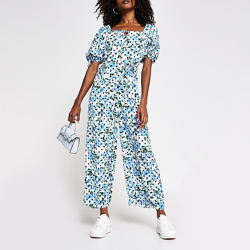 Blue floral milkmaid jumpsuit