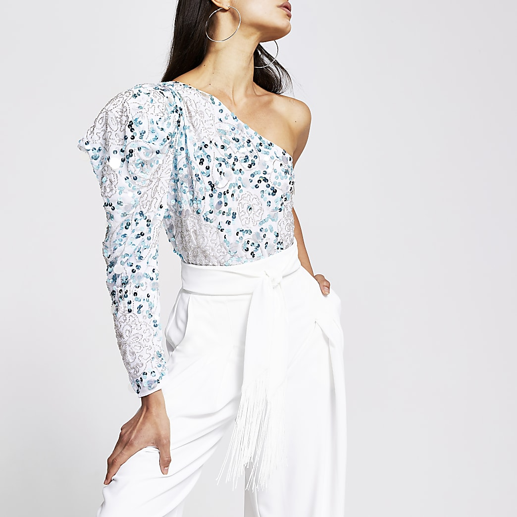 Blue floral one sleeve body