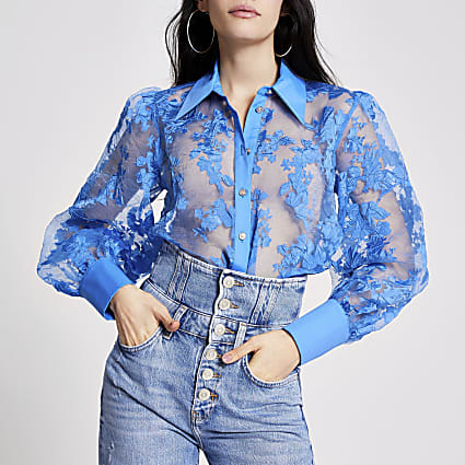Blue floral organza sheer shirt