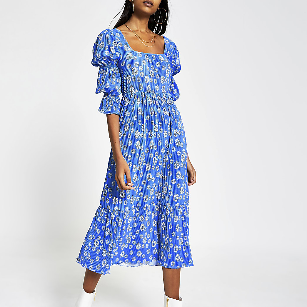 Blue floral plisse square neck midi dress