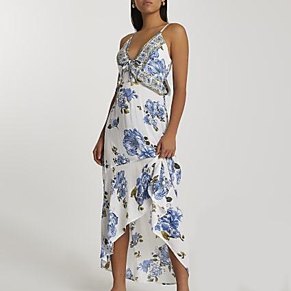 Blue floral plunge beach dress