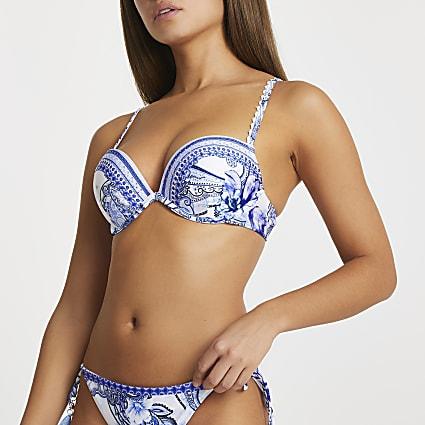 Blue floral plunge bikini top