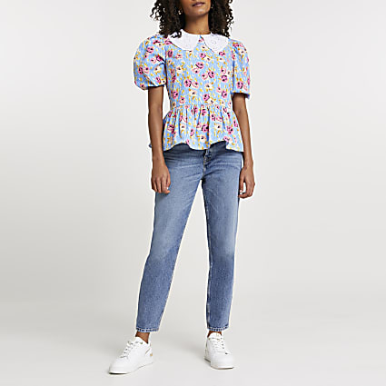 Blue floral poplin collar top