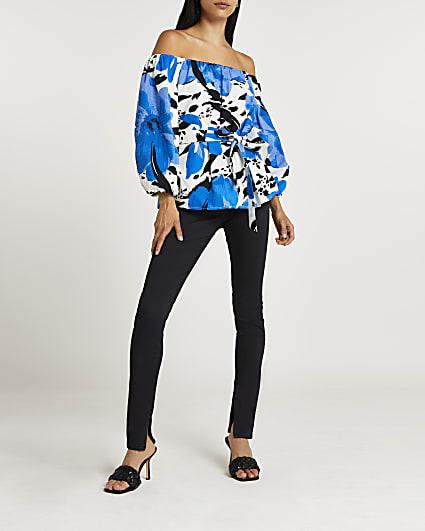 Blue floral print belted bardot top