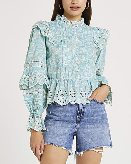 Blue floral print broderie trim blouse