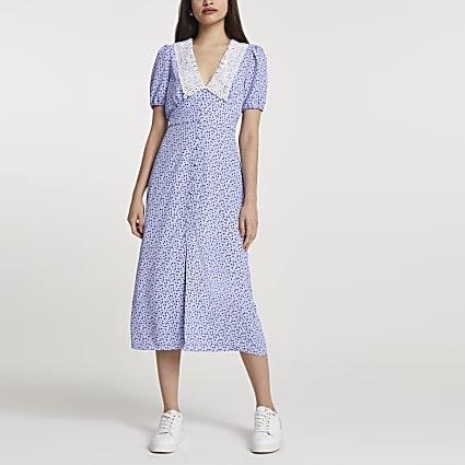 Blue floral print collar midi dress