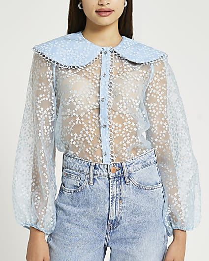Blue floral print collared organza shirt
