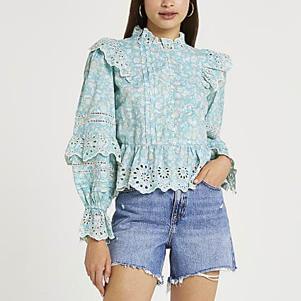 Blue floral print cutwork trim blouse top