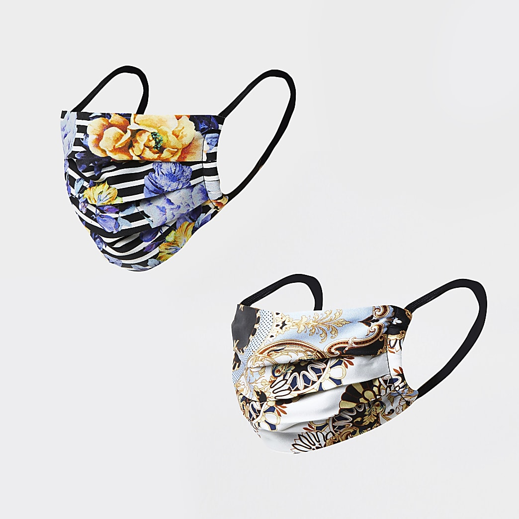 Blue floral print face covering pack of 2