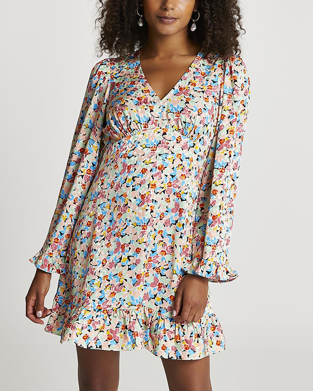 Blue floral print long sleeve mini dress