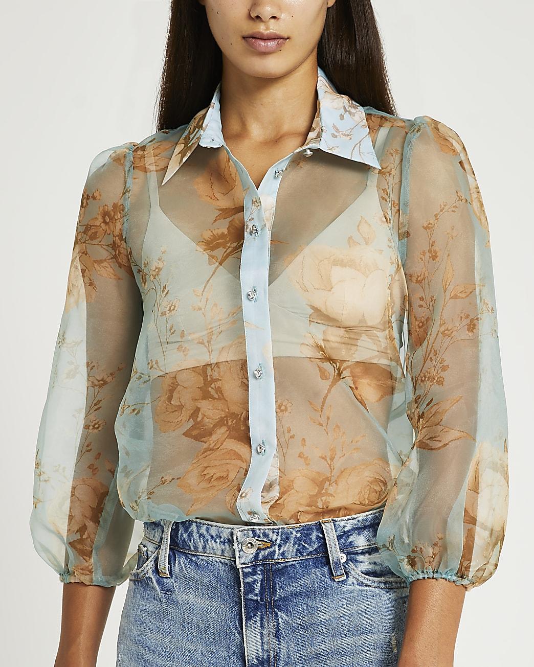Blue floral print organza shirt