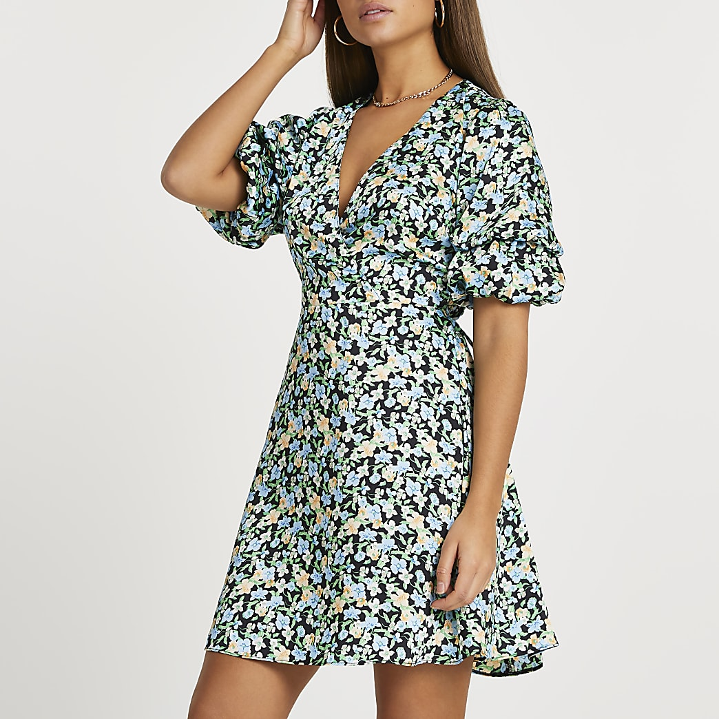 Blue floral print puff sleeve mini dress