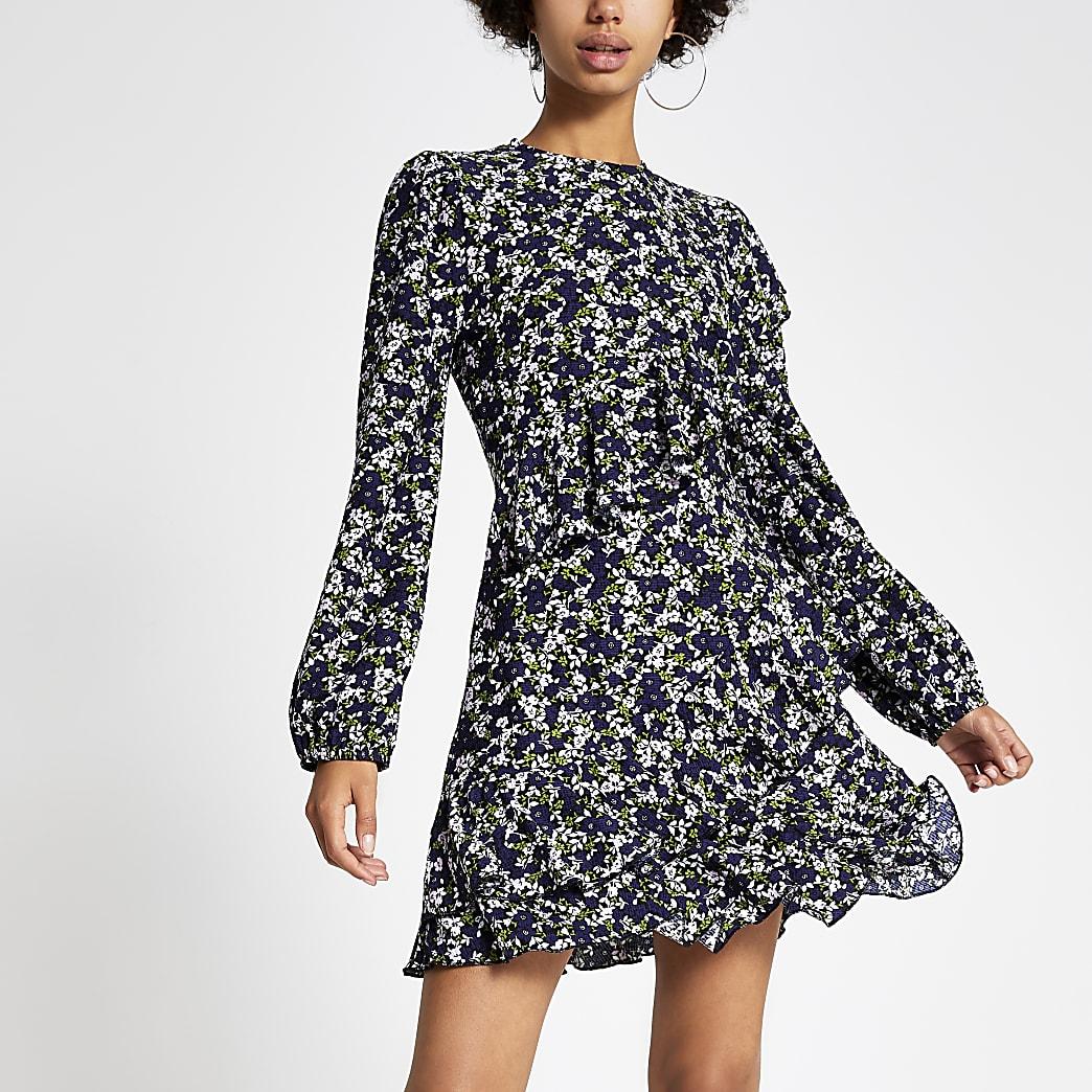 Blue floral print ruffle mini smock dress