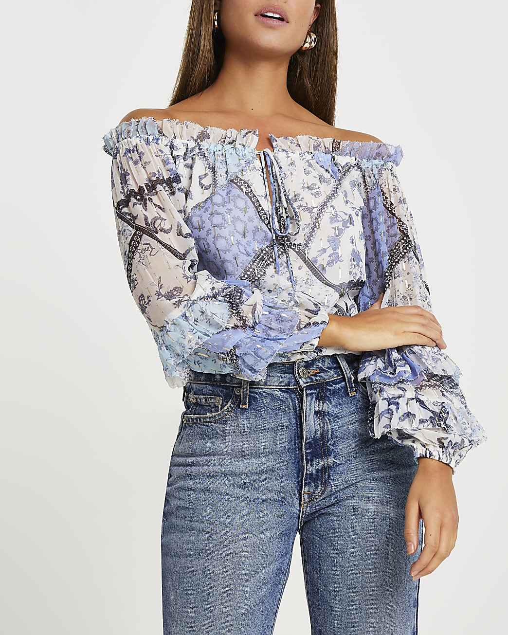 Blue floral print ruffled bardot top