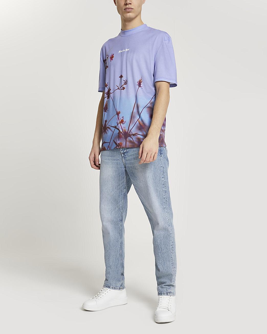 Blue floral print short sleeve t-shirt
