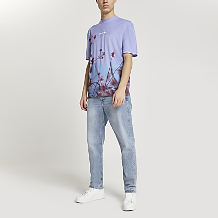 Blue floral print short sleeve t-shirt