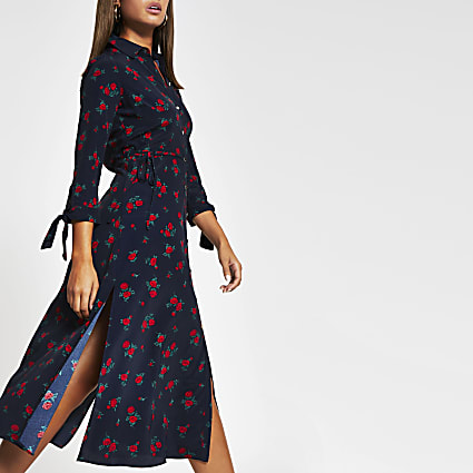 Blue floral print side split shirt midi dress