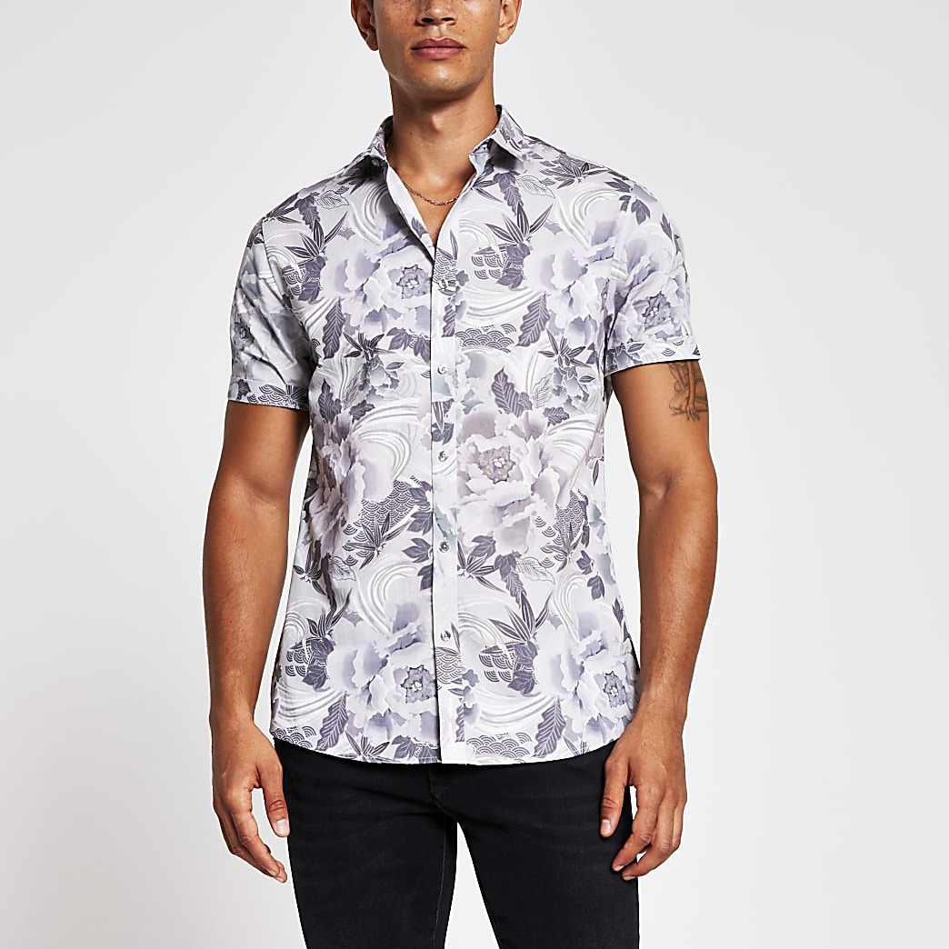 Blue floral print slim fit short sleeve shirt