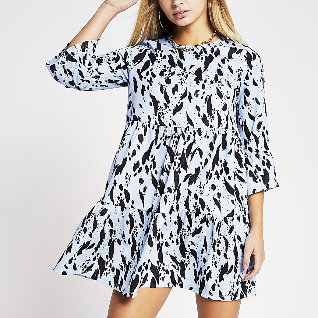 Blue floral print smock dress