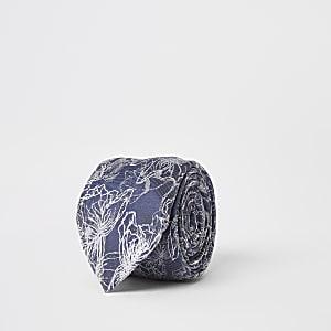 Blauwe stropdas met bloemenprint