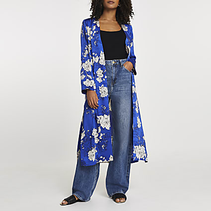 Blue floral printed tie waist duster