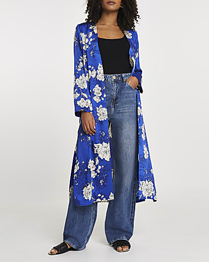 Blue floral printed tie waist duster