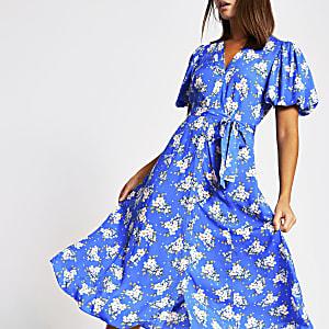 Blauwe midi-jurk met bloemenprint en pofmouwen