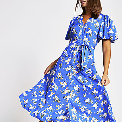 Blue floral puff sleeve midi dress