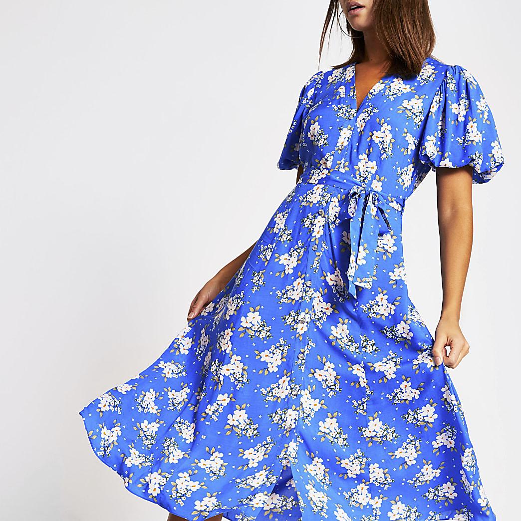 Robe mi-longue imprimée à fleurs bleue à manches bouffantes