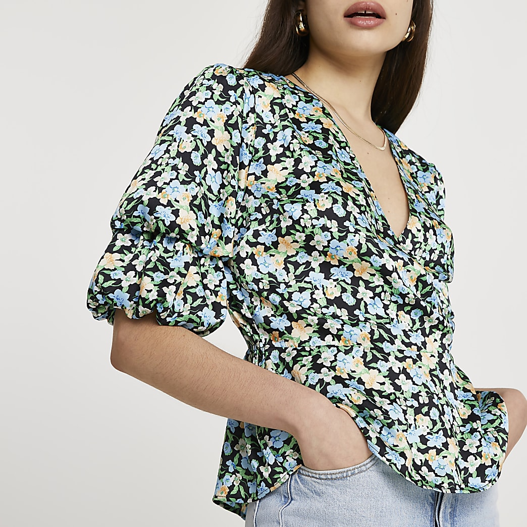 Blue floral puff sleeves top